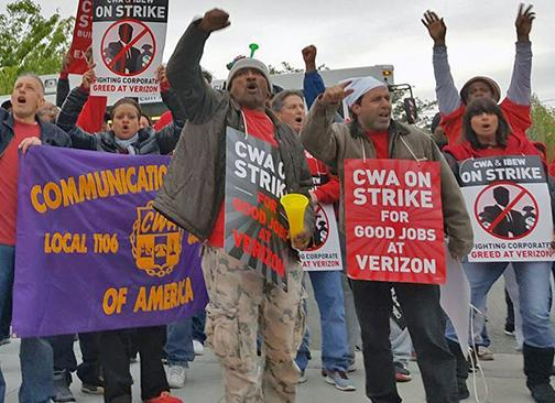 Verizon strikers on the picket line and standing up to corporate greed
