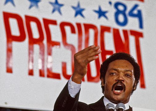 Jesse Jackson speaks during the 1984 Democratic presidential primary campaign