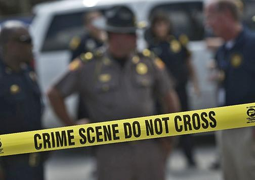 The scene of a shooting of police officers in Baton Rouge, Louisiana