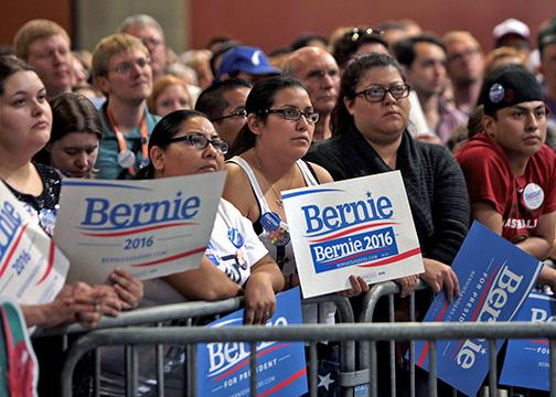 Supporters of Bernie Sanders at a town meeting in Phoenix
