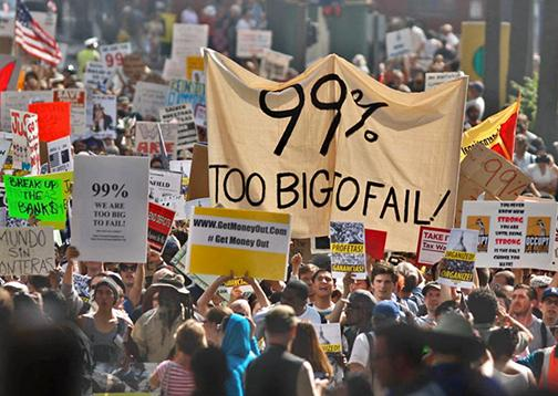 Occupy Wall Street protesters on the march in New York City