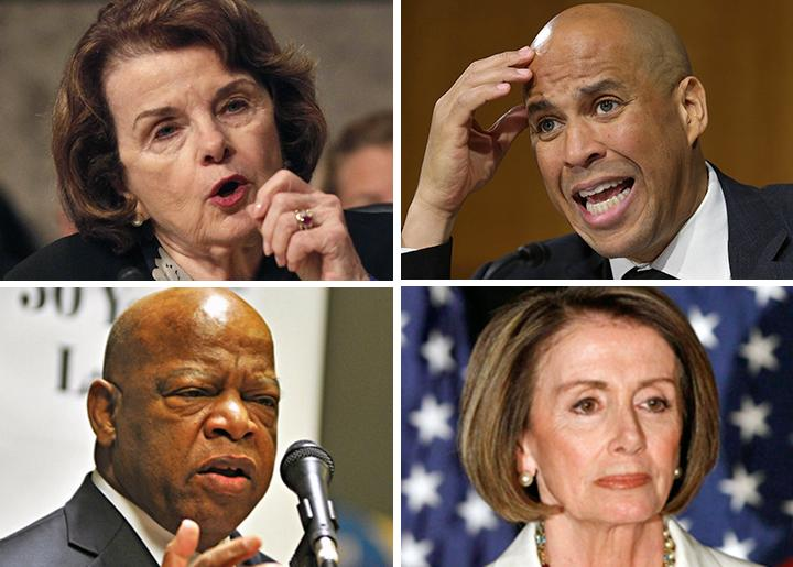 Clockwise from top right: Democrats Dianne Feinstein, Cory Booker, Nancy Pelosi and John Lewis
