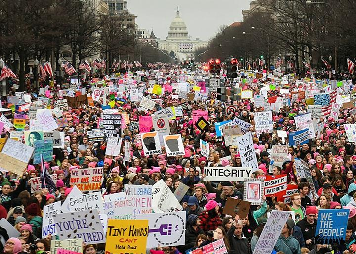 Protesters pour into streets during the Women's March on Washington
