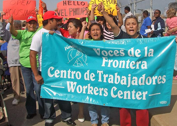 Immigrant workers demonstrate for equal rights in Milwaukee, Wisconsin