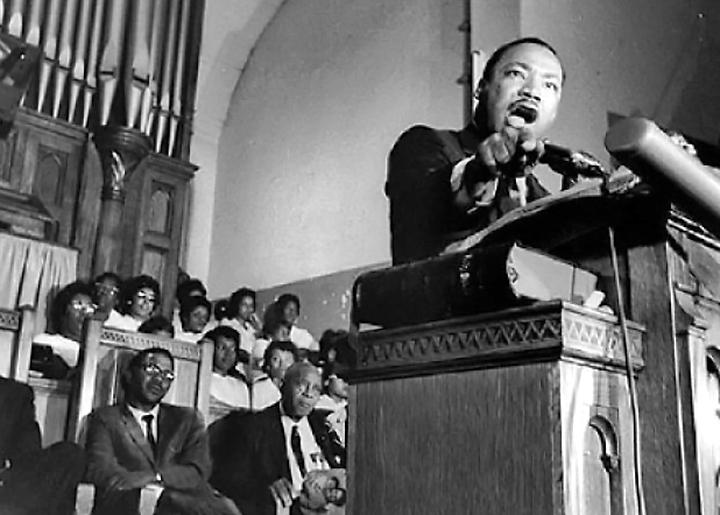 "Martin Luther King delivers his ""Beyond Vietnam"" speech at Riverside Church in New York City"