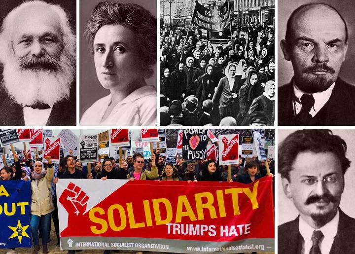 Clockwise from top left: Karl Marx, Rosa Luxemburg, Russian 1917, Vladimir Lenin, Leon Trotsky and the ISO today