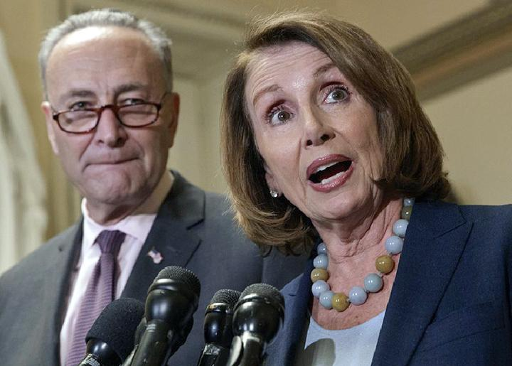 House Minority Leader Nancy Pelosi (right) with Senate Minority Leader Chuck Schumer
