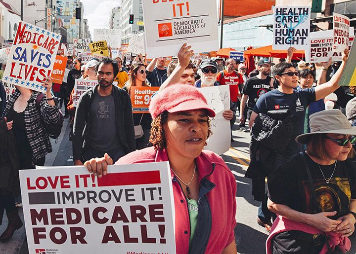 Protesters take to the streets of Los Angeles to demand a single-payer health care system