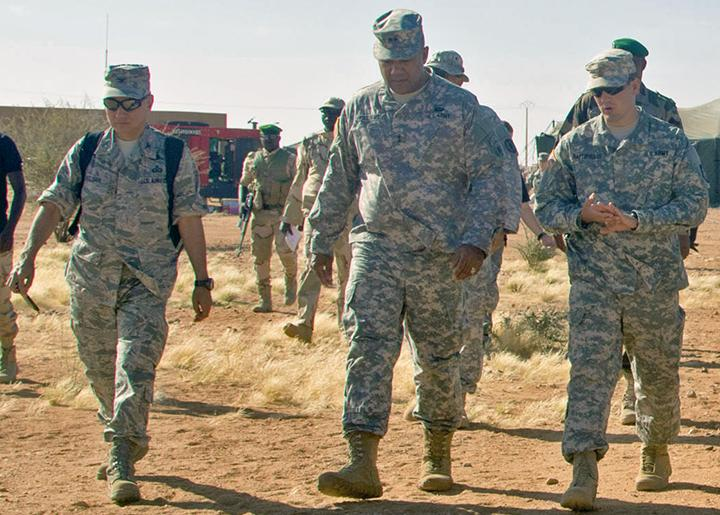 U.S. officers survey a military base near Agadez in Niger
