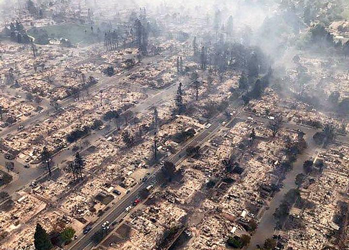 An entire neighborhood in the city of Santa Rosa was wiped out by the California fires