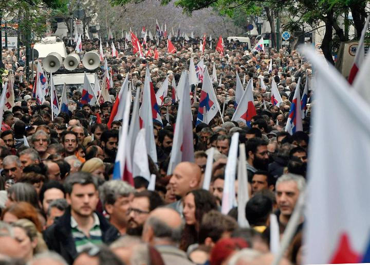 Greek workers on the march during a general strike