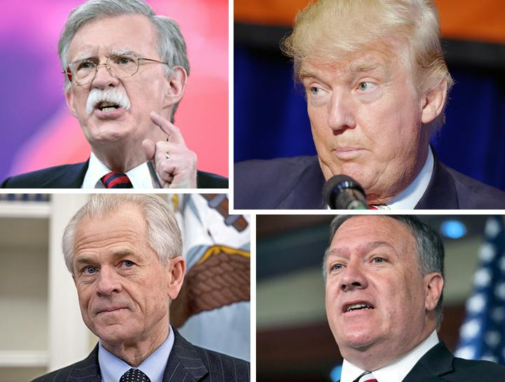 Clockwise from top left: John Bolton, Donald Trump, Mike Pompeo and Peter Navarro