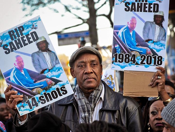 Eric Vassell protests the murder of his son Saheed by the NYPD