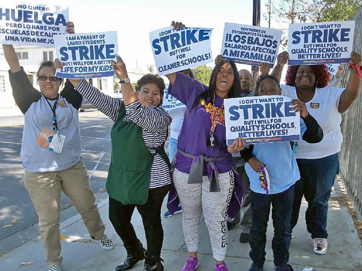 Education workers and students rally to demand school funding in Los Angeles