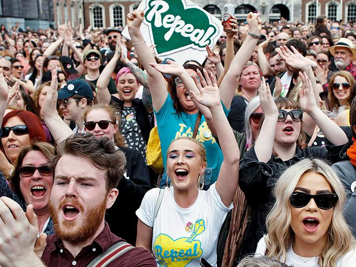 Supporters of the Repeal the Eight Amendment campaign celebrate victory.