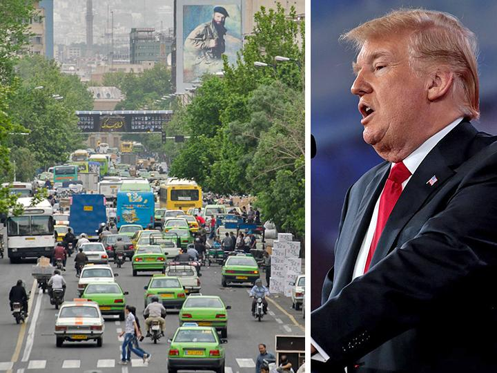 Left: A downtown street in Tehran; right: Donald Trump