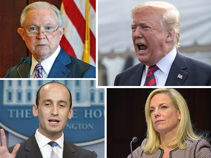 Clockwise from top left: Jefferson Beauregard Sessions III, Donald Trump, Kristjen Nielsen and Stephen Miller