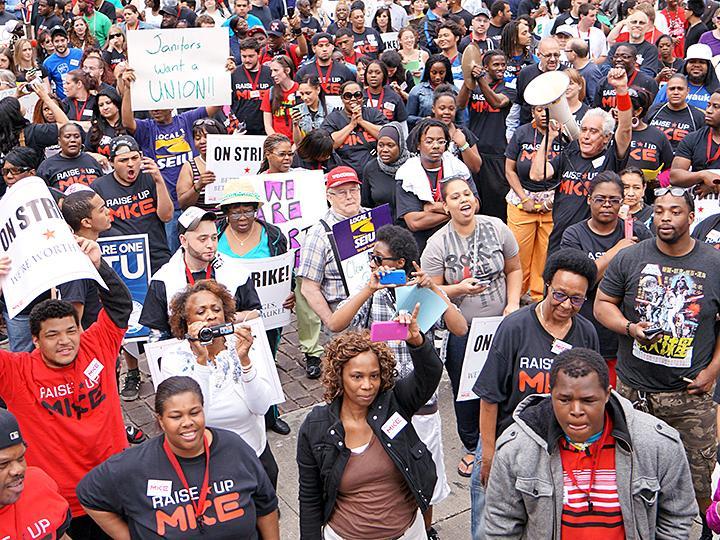 Fast-food workers and their supporters take to the streets of Milwaukee