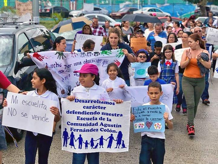 Students and teachers march against school closures in Puerto Rico