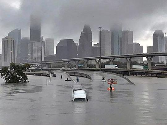 Downtown Houston flooded in the aftermath of Hurricane Harvey