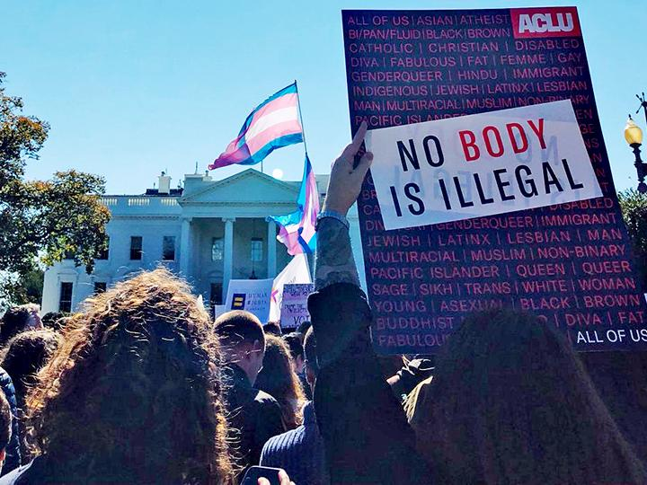 A demonstration for trans equality in front of the White House