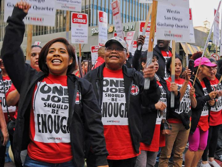 Striking hotel workers on the picket line at the Westin San Diego Gaslamp Quarter