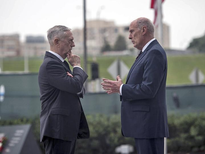 Former Defense Secretary Jim Mattis (left) and Director of National Intelligence Dan Coats in Washington, D.C.