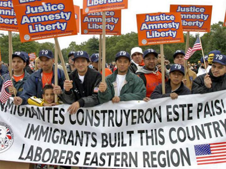 The Laborers contingent at an Immigrant Freedom Rides event in 2003