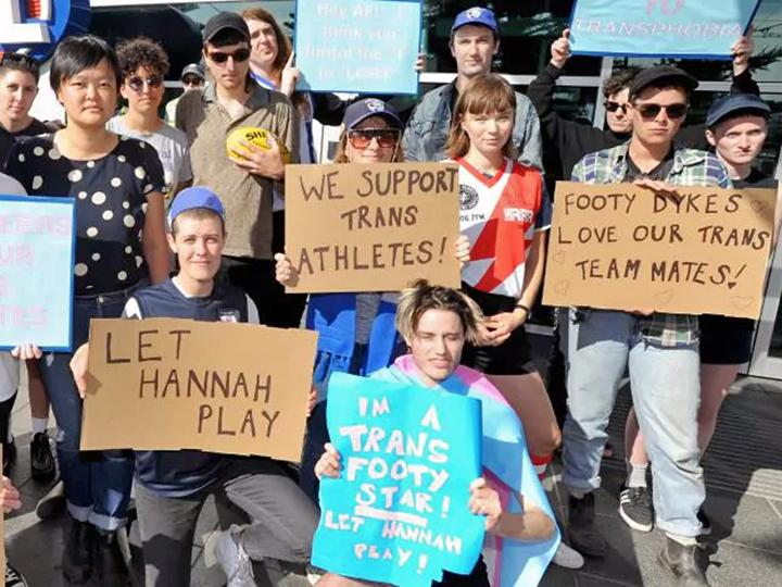 Protesting an anti-trans ban of athletes in Australia