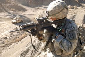 U.S. paratrooper on patrol in Afghanistan's Paktika province