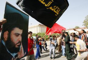 Supporters of Moktada al-Sadr demonstrate in Sadr City