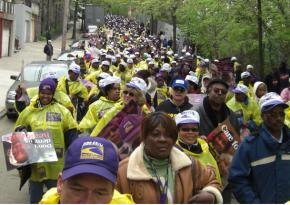 Supporters of SEIU1199 members on strike at the Kingsbridge Heights Nursing Home march through the Bronx in May 2008