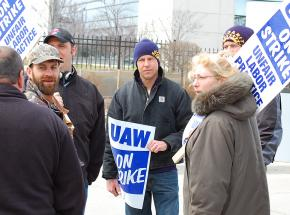 UAW members on the picket line at an American Axle plant in Detroit