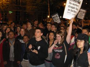 Hundreds of people gathered to protest a speech by Minutemen cofounder Chris Simcox at DePaul University in May 2008