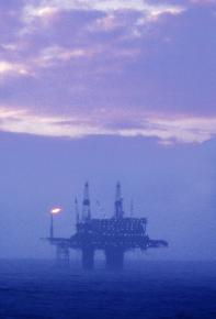 An oil platform off Britain's coast in the North Sea
