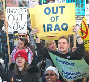Marching against the war in Iraq at a Washington, D.C., demonstration in January 2007