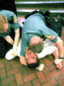 A cell phone picture of the police attack on Julio Hernandez