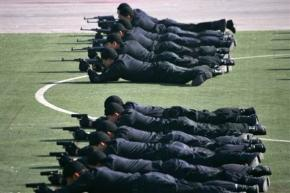 Chinese police training for security at the Olympics