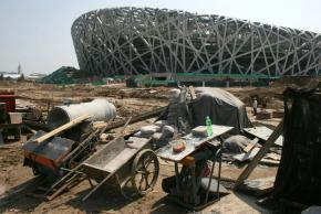 The Olympic stadium under construction in Beijing