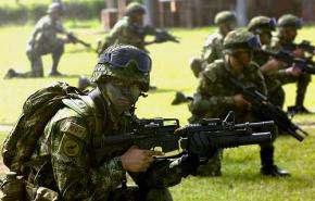 Colombian special forces demonstrate counter-insurgency tactics at the Pentagon's Joint Civilian Orientation Conference outside of Bogotá