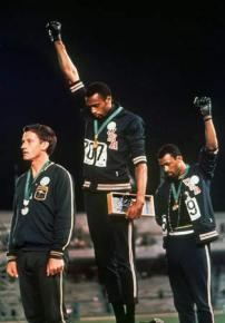 John Carlos and Tommie Smith raise the Black power salute