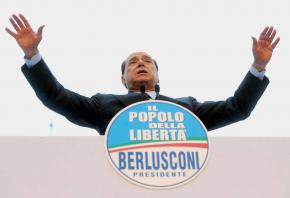 Right-wing media tycoon Silvio Berlusconi speaking in Rome during the spring 2008 election campaign