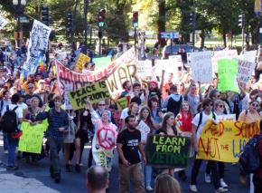 Antiwar protesters marched in Boston on the sixth anniversary of the congressional vote to authorize the Iraq war.