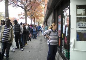A line outside a polling place in New York City where the wait to vote was more than two hours