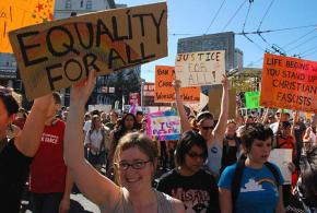 Crowds of people marched in San Francisco to protest the passage of Proposition 8