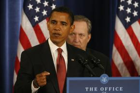 Barack Obama and National Economic Council Director-designate Lawrence Summers