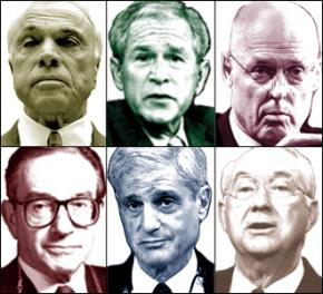 Clockwise from top left: Angelo Mozilo, George Bush, Henry Paulson, Phil Gramm, Robert Rubin, Alan Greenspan