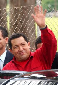 Venezuelan President Hugo Chávez casts a ballot in a December 2007 vote