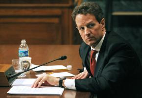 Treasury Secretary Tim Geithner giving testimony before the Senate Budget Committee