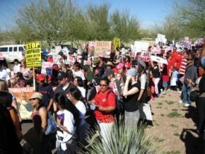 Thousands of demonstrators protested the anti-immigrant Sheriff Joe Arpaio in Phoenix